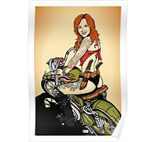Motorcycle Girl Poster