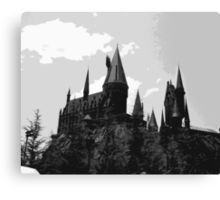 Grey-scale Hogwarts Canvas Print
