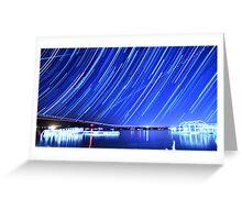 Star Trails Over Big Bear Lake  Greeting Card