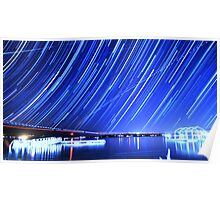Star Trails Over Big Bear Lake  Poster