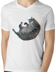 3D Cat in SPACE Mens V-Neck T-Shirt