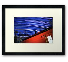 Galaxy Star Trails Pass Over Red Cabin Roof Framed Print