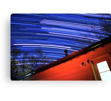 Galaxy Star Trails Pass Over Red Cabin Roof Canvas Print