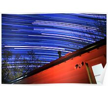 Galaxy Star Trails Pass Over Red Cabin Roof Poster