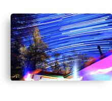 Space Star Trails Above Trees and Red Cabin  Canvas Print