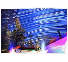 Space Star Trails Above Trees and Red Cabin  Poster