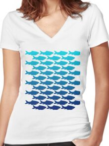 Happy Fish Women's Fitted V-Neck T-Shirt