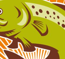 Trout Fish Jumping Retro Sticker