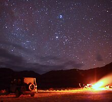 Jeep Campfire with Incredible Star Background by Gavin Heffernan