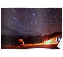 Jeep Campfire with Incredible Star Background Poster
