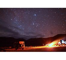 Jeep Campfire with Incredible Star Background Photographic Print