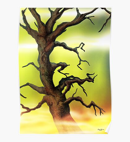 Twisted Tree Pencil drawing Poster