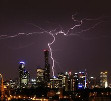 Lightning over Melbourne by PerkyBeans