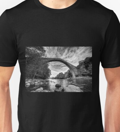 Traditional bridge in northern Greece, in bw Unisex T-Shirt