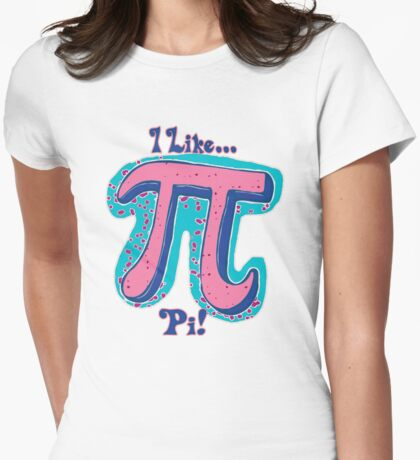 I Like Pi Pink Blue Womens Fitted T-Shirt