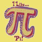 I Like Pi Pink Yellow by MudgeStudios