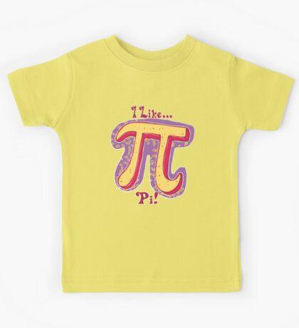 I Like Pi Pink Yellow Kids Tee