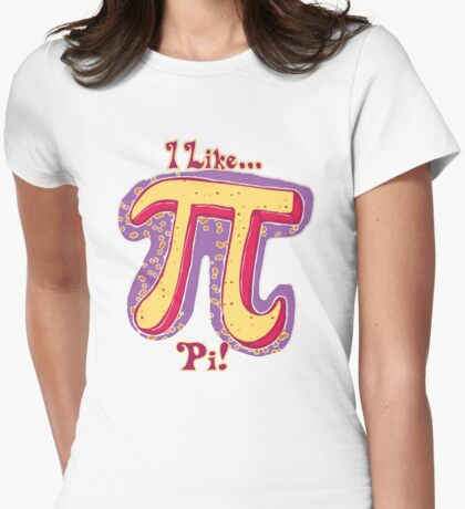 I Like Pi Pink Yellow Womens Fitted T-Shirt