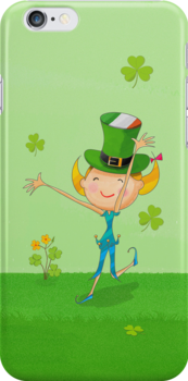 Green Shamrock Clovers & Elves with Leprechaun Hat by scottorz