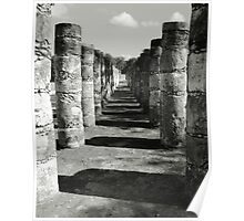 Columns in the Mayan Ruins of Chichen Itza Poster