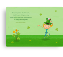 Green Shamrock Clovers & Elves with Leprechaun Hat Canvas Print