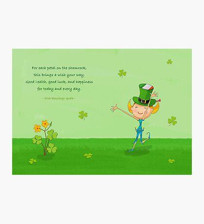Green Shamrock Clovers & Elves with Leprechaun Hat Photographic Print