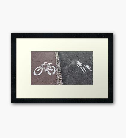 Walk and bike path Sign Framed Print