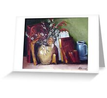 Yellow Pottery with Books Greeting Card