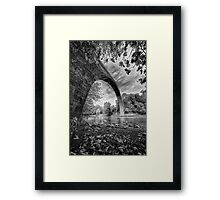 Huge stone bridge in northern Greece, in bw Framed Print
