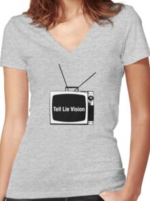Tell Lie Vision Women's Fitted V-Neck T-Shirt
