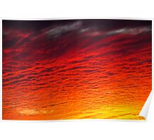 Red Orange Sunset Clouds Poster