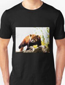 Red Panda Walking On Branch Unisex T-Shirt
