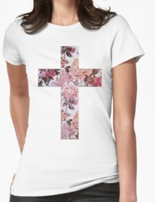 Floral Cross 3 Womens Fitted T-Shirt