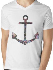 Floral Anchor 2 Mens V-Neck T-Shirt
