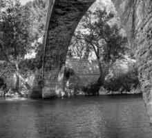 Old stone bridge in northern Greece, in bw Sticker