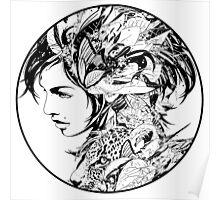 DJ Okawari - Kaleidoscope B&W Poster