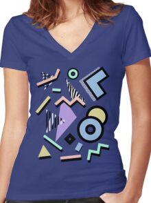 80s Pattern Vaporwave Memphis Pastel Squiggles Women's Fitted V-Neck T-Shirt