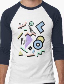 80s Pattern Vaporwave Memphis Pastel Squiggles Men's Baseball ¾ T-Shirt