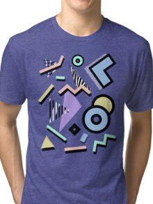 80s Pattern Vaporwave Memphis Pastel Squiggles Tri-blend T-Shirt