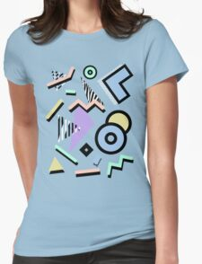 80s Pattern Vaporwave Memphis Pastel Squiggles Womens Fitted T-Shirt