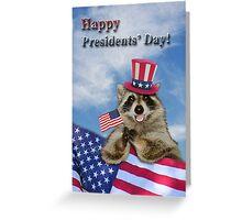 Presidents Day Raccoon Greeting Card