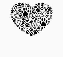 Dog Paws, Trails, Paw-prints, Heart - Black  Unisex T-Shirt