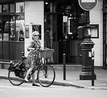 Parisian Streets - Madame and her bicycle by Andrew & Mariya  Rovenko