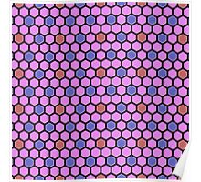 Honeycombs heliotrope blue red Poster
