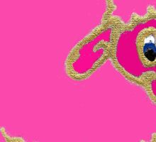 Bright pink silly sheep cartoon Sticker