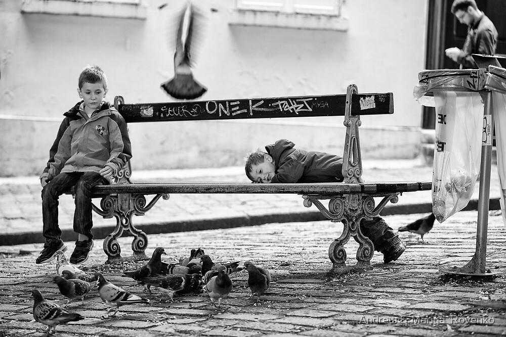 Boys and Pigeons - Paris by Andrew & Mariya  Rovenko