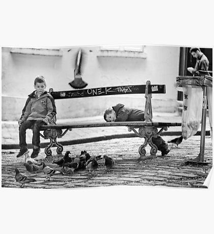 Boys and Pigeons - Paris Poster