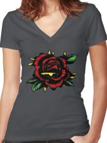 Traditional Rose Tattoo Women's Fitted V-Neck T-Shirt