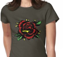 Traditional Rose Tattoo Womens Fitted T-Shirt