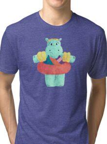 Nervous Beachy Hippo Tri-blend T-Shirt